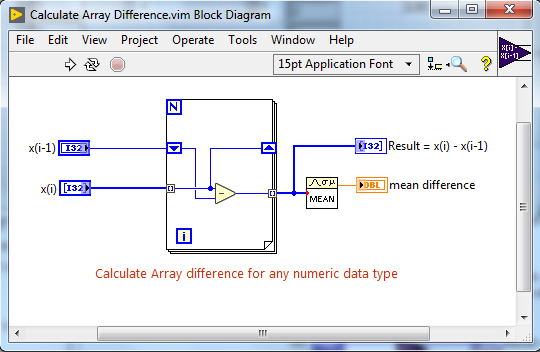 Malleable VI code snippet for calculating array difference