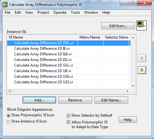 Polymorphic VI window that shows the all the VIs with only difference in datatypes