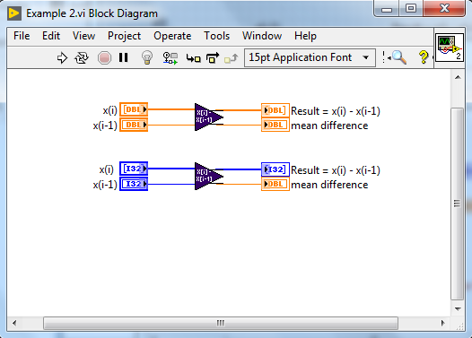 Calling Malleable VI code snippet for calculating array difference