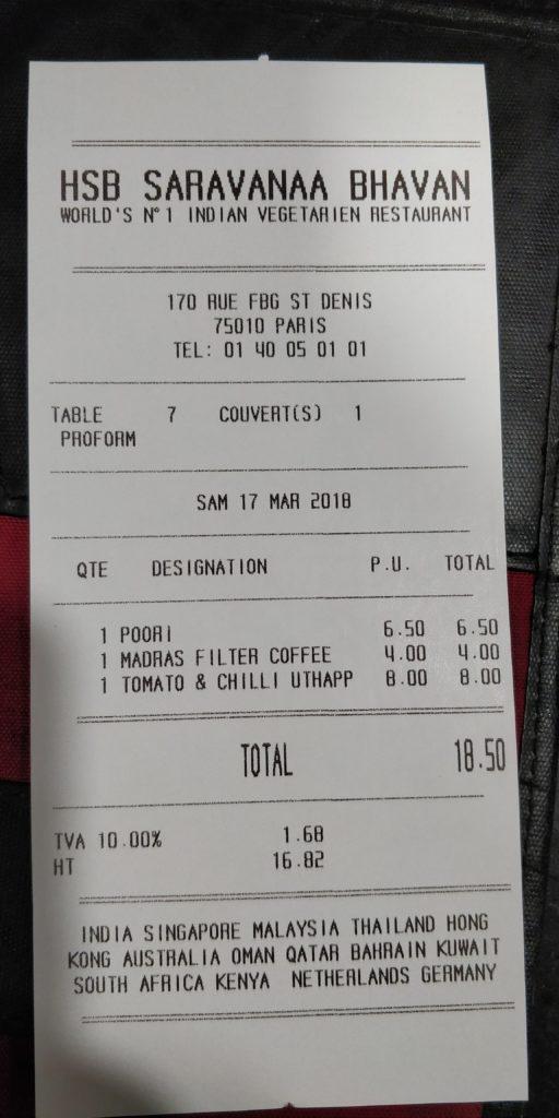 Bill from Saravanaa Bhavan restaurant in Paris