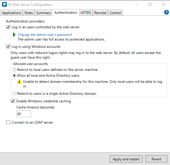 Configuring NI Web Server Authentication using NI Web Server Configuration window